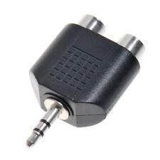 3.5mm Audio HeadPhones Mono Plug Male to 2RCA Jack Female Splitter Adapter 1/8'