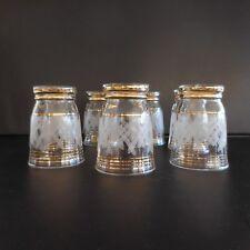 7 verres art-déco authentique vintage fait main signés PN 1964 France