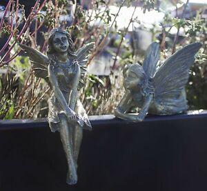 2 Fairy Statues Resin Fairies Bronze Effect Garden Figurines Outdoor Indoor