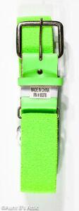 80's Style Belt Neon Green Unisex Adjustable Stretch Fabric & Vinyl Buckle Belt