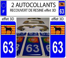 2 adhesivos de matrícula coche CON RELIEVE 3D RESINA Asno Catalán Burro DEP 63