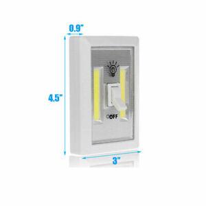 2Pack Mini COB LED Switch Wall Night Light Battery Operated Cabinet Garage Light