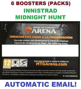 MAGIC MTG ARENA CODE CARD INNISTRAD MIDNIGHT HUNT 6 BOOSTERS PACK PRERELEASE MID
