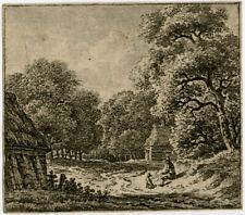 Rare Antique Master Print-LANDSCAPE-TREE-MAN-DOG-Grave-ca. 1790