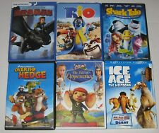 KIDS ANIMATED DVD LOT - 6 MOVIES - HOW TO TRAIN YOUR DRAGON, RIO, SHARK TALE...