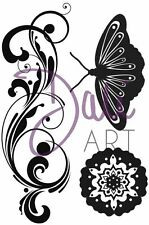 DaliART A6 Clear Stamps FLOURISH BUTTERFLY 3 Stamps DLCSA6019