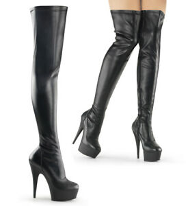 DELIGHT-3000 sexy Pleaser High Heels Plateauoverkneestiefel schwarz Lederoptik
