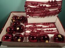 "Christmas 60 ft Garland (2 strands 30 ft each) & 10 3"" Ornaments Red Maroon"
