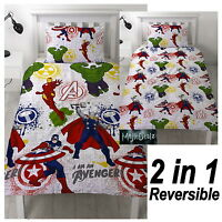 MARVEL AVENGERS MISSION SINGLE DUVET COVER SET REVERSIBLE BEDDING BOYS KIDS