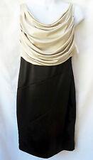 FRANK LYMAN Womens Black Beige Criss Cross Formal Dress US 6 UK 8