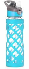 Swig Savvy Blue 25 Oz Glass Water Bottle With Changeable Leak Proof Caps
