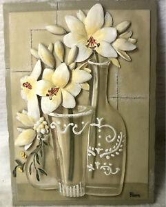 Vintage 3D Wall Art Tile Boem Yellow & White Flowers In Resin Vases 1950s Retro