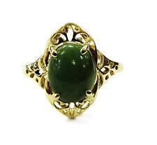 10K Yellow Gold Oval Jade Ring ~ 2.7g