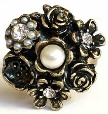 Gold Plated Rose Flower Cocktail Ring Roses Bloom Pearl Crystal Size 7 8 Vintage