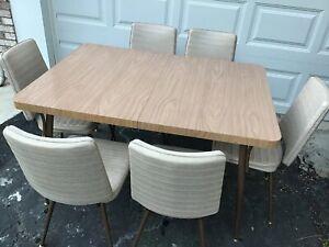 Vintage 1960 1970 Mid Century Modern Retro Formica Dining Kitchen bronze Table