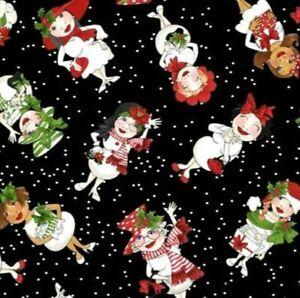 Loralie Designs Black Tossed Snowball Ladies Cotton Fabric 692-404 BTY
