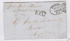 1858 Liverpool to Montreal Cunard Arabia ten p, ARnell D20 Canada