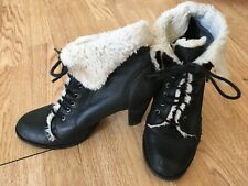 ladies black flat leather ankle boots size 6