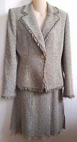 Anne Klein Tweed Chiffon Suit Skirt Jacket Blazer Sz 8 Fringes Tan Gray Black