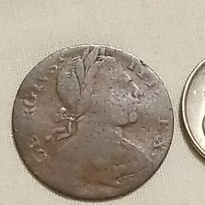 1737 British Colonial George III Farthing Mule Copper Coin Scarce Undervalued