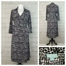 Liz Lange Sz S Black & White Maternity Wrap Dress 3/4 Sleeves Collared Stretch