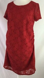 George Maternity Red Lace Overlay Dress UK 16 Stretch Crew Neck Dual Layer K740