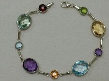 14K Yellow Gold Station Bracelet With Oval & Round Multi-Color Gemstones 7 1/2""