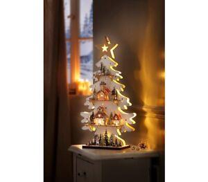 """LED-Tanne """"Engelszene"""" mit Spieluhr Deko LED Weihnachtsdekoration Holz"""