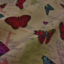 Stone Canvas Fabric with Butterflies & Text (Per Metre)