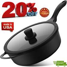 PRANZOELITE 11-inch Nonstick Deep Frying Pan Skillet Pan Saute Pan with Lid PFOA