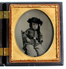 BOY with CIVIL WAR? BELT BUCKLE Antique AMBROTYPE Photo GUTTA PERCHA Union Case