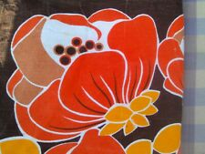 "4 Vintage 60's French Orange/Brown Flower Power Napkins/Cushion Tops 18"" Cotton"