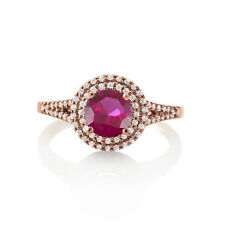 2Ct Excellent Round Ruby 14k Rose Gold Over Double Halo Promise Engagement Ring