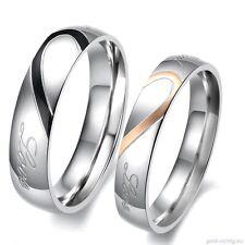 2 Partner Ringe Herz Partnerringe Freundschaftsringe Geschenk Verlobung Hochzeit