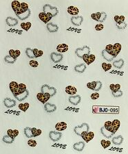Nail Art Glitter Water Decals Love Hearts BJC095