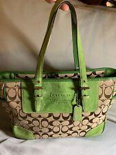 Coach Signature Shoulder bag Purse Green Leather Suede W/keychain F04Q-1443