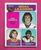 1975-76 OPC  # 206 CANADIENS GUY LAFLEUR  LEADERS EX-MT  CARD (INV# C8495)