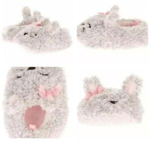 Toddler Girls Gray Bunny Slippers Sizes 3,  5, 6