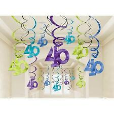 PACK OF 30 SWIRLS 40th BIRTHDAY ANNIVERSAY PARTY HANGING DECORATIONS FORTY