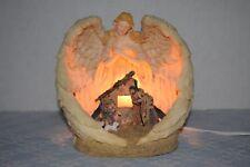 Vintage Resin Angel Overlooking Nativity Manger Scene Night Light