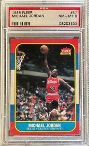 💥 1986 Fleer MICHAEL JORDAN #57 PSA 8 NM MINT RC Rookie Card Chicago Bulls 💥