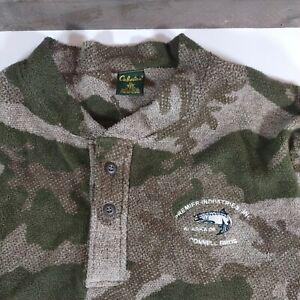 Cabelas Men's Camo Pullover Fleece Henley Shirt Fishing Alaska Connell Bros XL