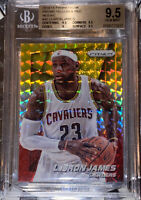 💎2014-15 LeBron James PRIZM YELLOW RED GOLD MOSAIC REFRACTOR #48 BGS 9.5 PSA