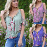 Womens Summer Cold Shoulder Floral Top Short Sleeve Blouse Casual Loose T-Shirt