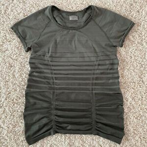 ATHLETA Fastest Track Tee T-Shirt Womens XL Green Striped Short Sleeve Ruched