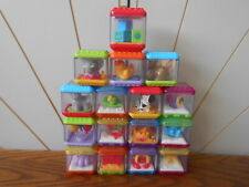 PEEK A BOO BLOCKS toy bricks with toys trapped inside FISHER PRICE lot of 16