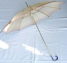 Regenschirm Stockschirm gelb/rosa/weiß lila Griff - 50er 60er Jahre - Vintage