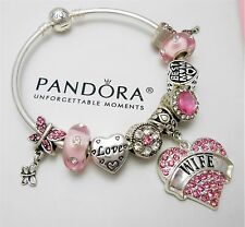 Authentic Pandora Silver Bangle Charm Bracelet With Wife Heart European Charms.