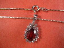 CUBIC ZIRCONIA/RED STONE IN STERLING SILVER(925) NECKLACE-ONE OF A KIND-UNIQUE!