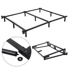 black folding heavy duty metal bed frame center support bedroom queen size - Heavy Duty Bed Frame Queen